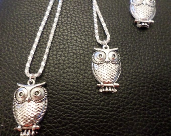 """Silver plated, necklace, 18"""" with owl charm"""
