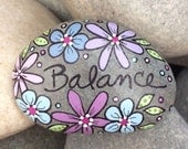 Happy Rock - Balance - Hand-Painted River Rock Stone - pink lilac daisies pansies posies flowers mantra