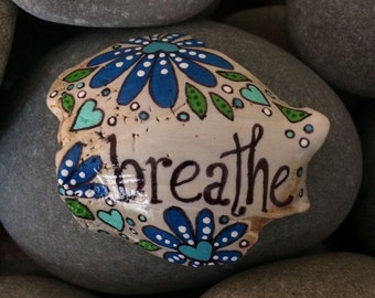 Painted sea shell - breathe - seashell - blue aqua hearts flowers - stocking stuffer