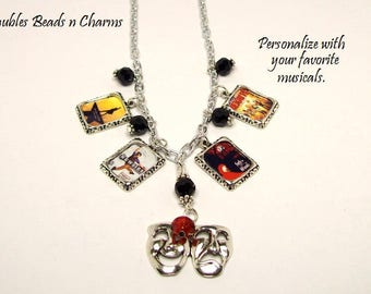 Broadway Musicals Charm Necklace, Personalized Broadway Charm Necklace, Broadway Musicals Jewelry, Your Favorite Musicals Charm Necklace