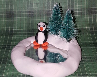 One of a kind penguin ice rink scene