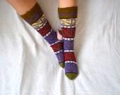 hand knit socks, high knee socks - Turkish Knitted Socks legwarmers, woman socks, knitted socks, gift for woman hand knit knee high socks