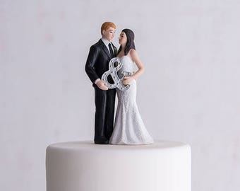 Wedding Cake Top,Mr. & Mrs. Porcelain Figurine, Wedding Cake Topper With Ampersand