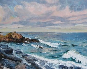 """Michigan Lake Superior, Large Landscape Giclee' of Original Oil Painting, 20"""" x 40"""""""