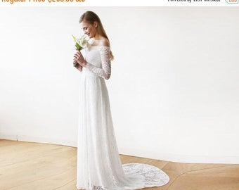 Spring Sale Ivory Off-The-Shoulder Floral Lace Long Sleeve Maxi Dress with a Train 1148