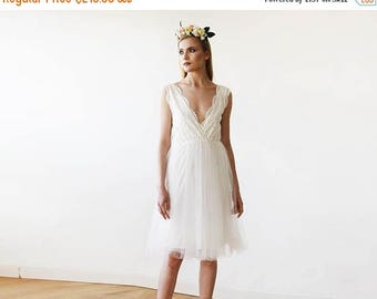 30% OFF - Blush Birthday Ivory Tulle and Lace Short Wedding Dress 1157
