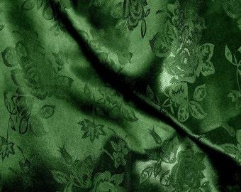 Brocade Jacquard Satin Dark Hunter Green 60 Inch Fabric by the Yard - 1 yard