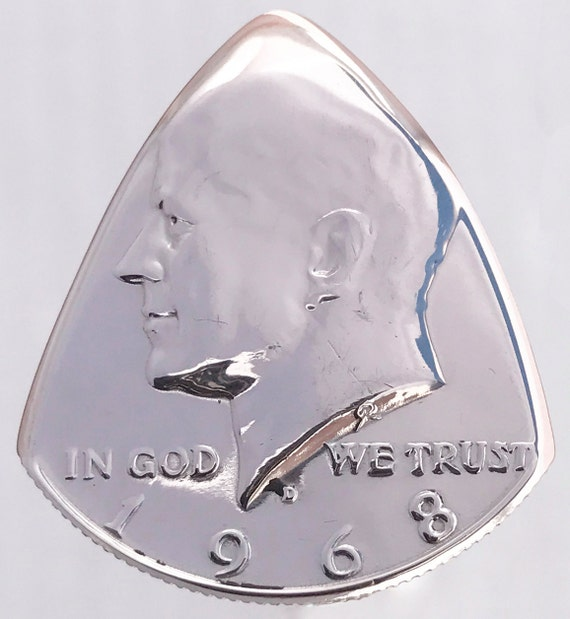 Coin Guitar Pick 1968 Silver Kennedy Half Dollar