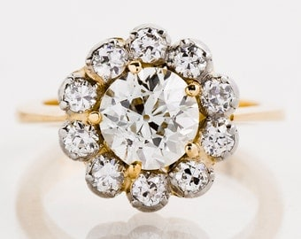 Antique Engagement Ring - Antique 18k Two-Tone 2.63ctw Diamond Flower Engagement Ring