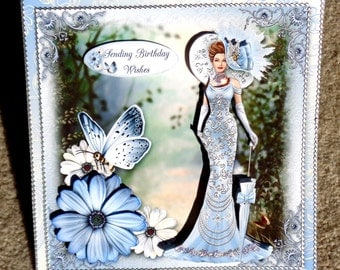 Birthday Fashion Lady Multi Paper Layering Handmade 3D Greeting Card with Paper Stacking Technique