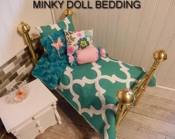 "Jade geometric bedding set with Reversible  Jade Minky,4 Decorative pillows Fits American girl dolls or any 18-20""dolls # 149"