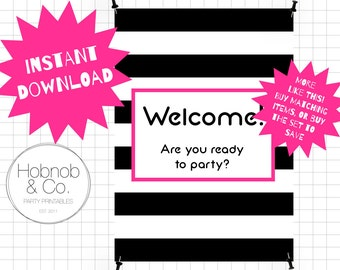 Printable chic striped party welcome sign INSTANT DOWNLOAD