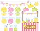 SALE - Clipart - Pink Lemonade Stand / Citrus Clipart / Journal Planner Stickers - Digital Clip Art (Instant Download)