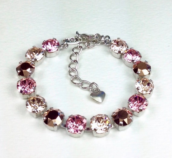 "Swarovski Crystal 8.5mm Bracelet  ""Rosy Horizons""   Lt. Rose, Rose Gold, and Champagne  - Designer Inspired  Bridesmaid Gift - FREE SHIPPING"