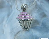 Pick A Pearl Cage Pink Cupcake Crystal Accents Silver Plated Locket Charm Necklace