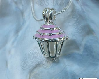 Pick A Pearl Cage Necklace Pink Cupcake Crystal Accents Silver Plated Locket Charm Necklace
