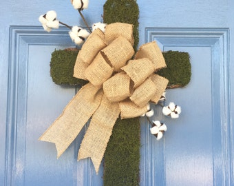 Moss Cross with Cotton