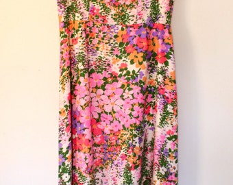 Vintage Silk Floral Maxi Dress Scoop Neck Capped Sleeves Handmade