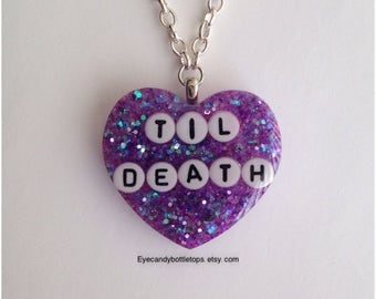 Til Death Purple Resin Charm Necklace