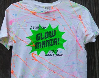 Vintage GLOW MANIA Marble Color Splater Dye shirt Day Glo