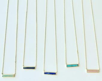 Tiny Stone Bar Necklace // Layering Necklace // Horizontal Bar Necklace