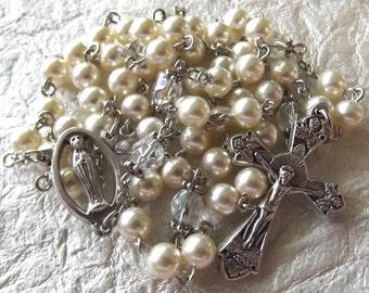 June/Pearl Crystal Birthstone Rosary