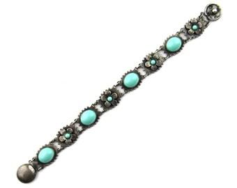 Vintage Bracelet, Art Deco Turquoise Glass Bracelet Silver c. 1920, Deco Bracelet, Edwardian Bracelet, Antique Bracelet,