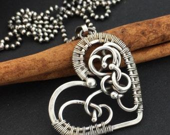 Fetus pendant, Silver symbolic heart pendant, Symbolic silver pendant, Pregnancy pendant