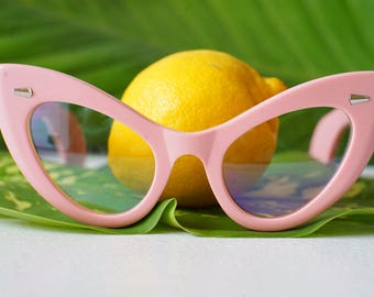 Vintage Style Extreme Cat Eye Frames Thick Temples Very large by Lemon Eyeglass Co. Handmade 1960's style 46-22 Oversized Cadillac Pink