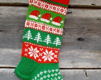 New 2017! Christmas stocking Personalized Hand knit Wool Bright Green Red White with Santa hats Snowflakes Trees Christmas gift Decoration