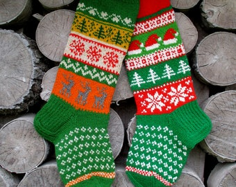 Set of 2 Christmas Stockings Personalized Hand knit Wool Deer Gnomes Trees Snowflakes Santa Snowmen Red Green Gray Gift