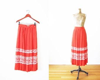 Pleated Skirt Vintage Red Midi Below The Knee Bohemian Folk Tropical 90s Skirt Tribal Aztec Print Long Maxi Skirt