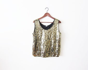 Sequin Shirt / Sequin Tank Top / Gold Sequin Shirt / Slouchy Top / Festival Clothing / Sleeveless Shirt / Gold Sequined Top