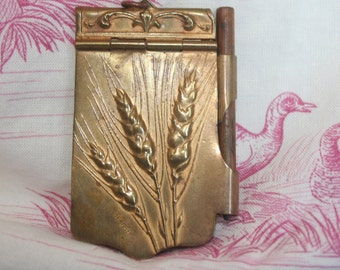 Exquisite French Antique Gilded Notebook, Signed, Chatelaine, Dance Card, Carnet de Bal with Original Pad and Pencil