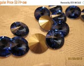 FF Sale - 12mm, Swarovski, Art 1122, Faceted Crystal Rivoli, Sapphire, Foiled - Available in Small, 2 & 4 Stone Pkgs, Larger Pkgs, and Facto