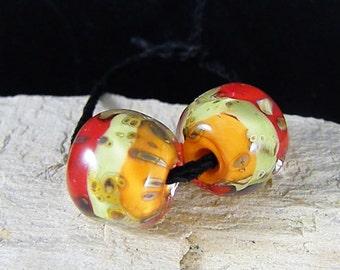 Handmade Lampwork Beads - Earring Pairs ~Fiesta Earring  -Boho-Lampies