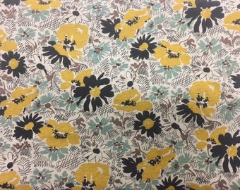 MARIGOLD Yellow And Black Floral Fabric / 68 x 57