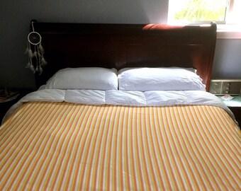 Vintage ORANGE & YELLOW Striped Flat Sheet / 60s 70s Dan River California King Size Flat Sheet