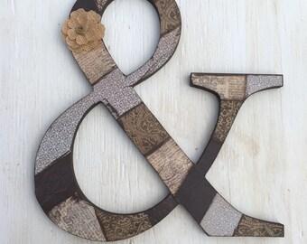 """12"""" Wooden Ampersand & - Ampersand Letter - Custom And Sign - Wood And Sign - Ampersand Wood Letter - Home Decor Letter"""