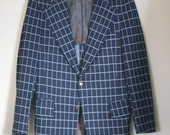 vintage men's sport coat navy and white windowpane plaid polyester size 38