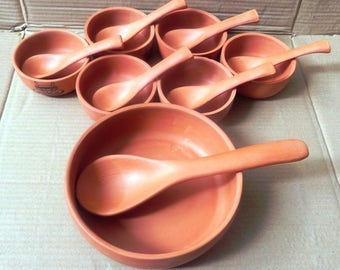 TerraCotta Pudding Set witht 7 bowls and 7 spoons ,all natural earthenware,non toxic kitchenware..