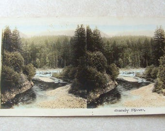 Early Stereoview Hand Tinted Image of Sandy River Oregon, Lovely Verse On Back