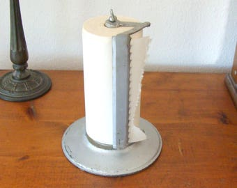 Old Iron Industrial Paper Towel Stand Dispenser, Heavy As Sin w/ Old Continuous Roll of Paper