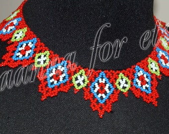 Red necklace in ethnic style