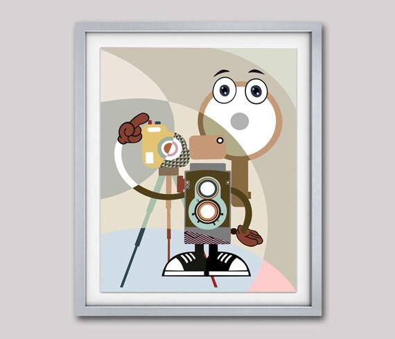 Camera Art, Retro Poster, Rolleiflex Camera, Cartoon Art, Living Room Decor, Wall Art, Wall Decor, Teal, Sand, Grey, Khaki