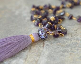 Gemstone tassel necklace Boho amethyst nugget necklace  Purple silk tassel Long beaded chain necklace Bohemian jewelry Amethyst jewelry