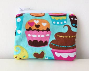Cupcakes Zippered Pouch - Coin Pouch - Turquoise, Brown - Coin Purse - Tiny Purse - Cute Accessories, Mini Makeup Bag, Small Accessory Bag