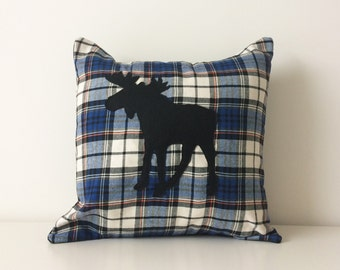 Moose Silhouette Pillow Cover, 16x16, Elk Applique Pillow, Flannel Plaid Modern Cushion Cover, Rustic Contemporary Cottage Decor, Canadian