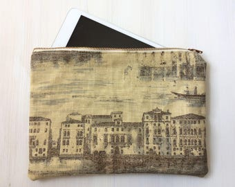 Grand Canal Zippered Pouch - Large Size - Linen - Vintage Look Fabric Pouch - Tablet Holder Purse - Clutch - Ipad Mini Pouch - Travel Pouch