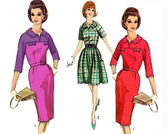 """Vintage 1964 Mad Men Dress, Yokes Extend to Sleeves, 2 Skirt Options, Use for Even Plaid or for Color Block, Simplicity 5777, Bust 32"""" Uncut"""